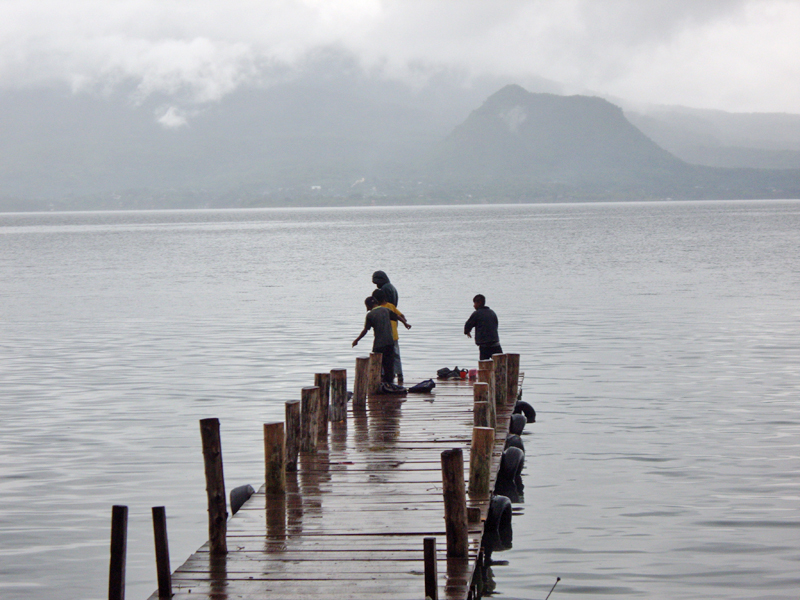 Kids Fishing at the dock Panajachel Lake Atitlan